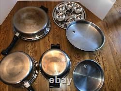 Large VTG 21 Piece Saladmaster 18-8 Tri Clad Stainless Steel Cookware Set pans