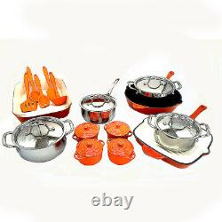 Le Chef 24-Piece Enameled Cast Iron Cookware Set (Multi-colored, OR158)