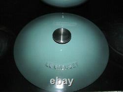 Le Creuset Ocean Blue Cast Iron Soup Pot 4-1/4 Qt #26 with Stainless Steel Knob