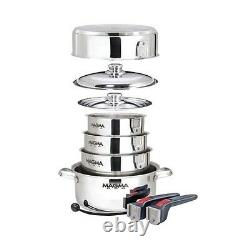 Magma Grills A10-360L-Ind 10 Pc Stainless Steel Nesting Cookware Induction