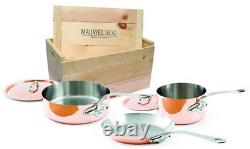 Mauviel M'150s 5 Piece Copper Cookware Set Cast Stainless Handles Wooden Crate