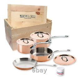 Mauviel M'Heritage M'150s 7 Piece Copper Cookware Set With Wooden Crate