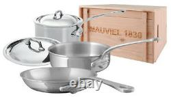 Mauviel M'cook 5 Ply Stainless Steel 5 Pc Cookware Set Steel Handle Wooden Crate