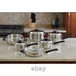Maxam 9-Element Extra-heavy Stainless Steel-Waterless 17pc Cookware Set KT17