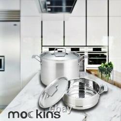 Mockins 15 Piece Premium Grade Stainless Steel Cookware Set Tri-Ply Body Set