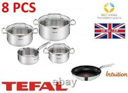 NEW TEFAL DUETTO STAINLESS STEEL COOKWARE SET 8 PCS LID POTS 24 cm INTUITION PAN