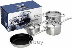 New Le Creuset 3 -Ply Stainless Steel Non-Stick 4 Piece Cookware Set