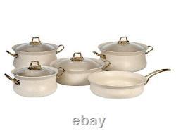 OMS Cookware Set Glass Lids Ivory Pan Pot Frying Pan Non-Stick Casserole 9 Piece