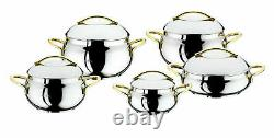 OMS Cookware Silver Gold 10 Piece Bowl Shape Professional Stock Pot Set With Lid