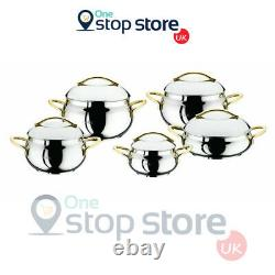 OMS Gold Bowl Shape 10 Piece Silver Cookware Professional Stock Pot Set With Lid
