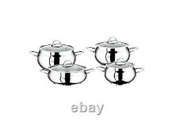 O. M. S Quality 8 Piece Professional Cookware Stock Pot Set Oven Proof & Induction