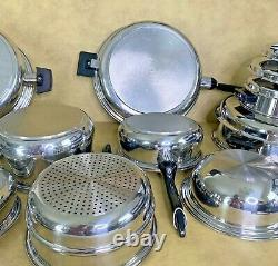 PERMANENT Cookware Waterless 18 Pc Set 5-Ply Multi-Core T304 Stainless USA MINT