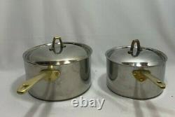Paul Revere Ware 1801 Cookware Pot Tri-Ply Stainless Steel Copper Core USA 1980s