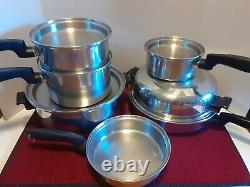 Permanent Multi-Core Stainless Steel Vintage Cookware 11 Piece Set Pots & Pans