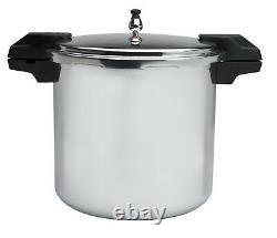 Polished Aluminum 5/10/15-PSI Pressure Cooker/Canner Cookware 22-Quart Silver