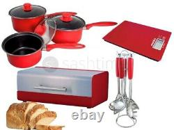 Red Kitchen 5pc Utensil Set / 3pc Cookware Set / S/s Bread Bin / Digital Scale