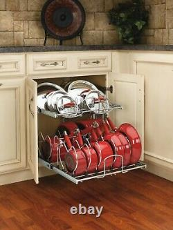 Rev-A-Shelf 5CW2-2122 Chrome 5CW2 Series 21 Two-Tier Pull Out Cookware Organize