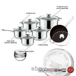 S/s Deluxe Quality 12pc Casserole Saucepan Stock Pot Fry Pan Cookware Set