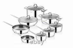 Saflon Stainless Steel Tri-Ply Bottom 14 Piece Cookware Set Induction Ready