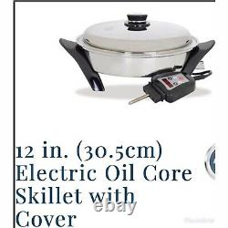 Saladmaster 12 (30.4cm) Electric Oil Core Skillet 220V. Waterless Cookware