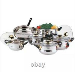 Stainless Steel12 Pcs Cookware Set Cooking Saucepan Pot Pan Cook Cooker Set