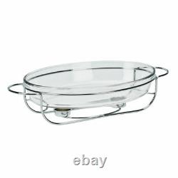Stainless Steel Food Warmer Heater 3L Cookware Glass Dish Roaster Stand Buffet