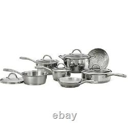 Stainless Steel Tri-Ply Clad Cookware 12-Pcs Set Durable Dishwasher & Oven
