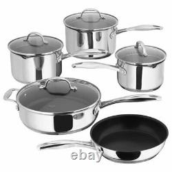 Stellar 7000 5 Piece Cookware Saucepan Set Induction Draining Glass Lids