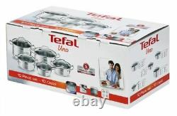Tefal Cookware Kitchen Set Uno 10 Pcs Saucepan Stewpots Stockpot Glass Lids Pots
