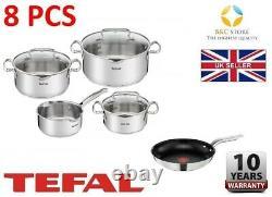 Tefal Stainless Steel Cookware Duetto Set 8 Pcs Lid Pots 24 Cm Pan Kitchen