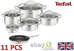 Tefal Uno Stainless Steel Pots + 24 CM Duetto Pan Kitchen Cookware Set 11 Pcs