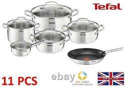 Tefal Uno Stainless Steel Pots + 28 CM Duetto Pan Kitchen Cookware Set 11 Pcs