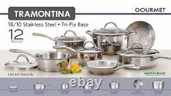 Tramontina 12-Piece Gourmet Tri-Ply Base Kitchen Cookware Set Stainless Steel