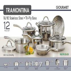 Tramontina Gourmet Stainless Steel Tri-Ply Base Cookware Set, 12 Piece