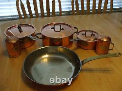VTG. OLD DUTCH INT'L 7 PC. COPPER & STAINLESS STEEL With BRASS HANDLES SALT& PEPPER