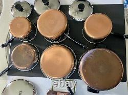 VTG. REVERE WARE 1801 Copper Clad Bottom 10 Pc. Cookware Pot Pan Set NEW OS! USA