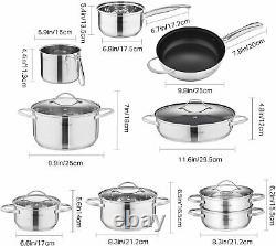 Velaze Miki 14pc Stainless Steel Cookware Pot Set Saucepan Casserole Pan Frypans