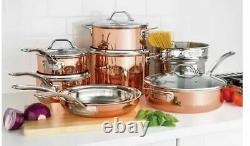 Viking 13 piece Tri-Ply Copper Finish Cookware Set Glass Lids Strong Handles