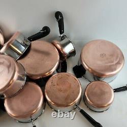 Vintage 11 Piece Revere Ware USA Copper Bottom Cookware Set Pots Pans