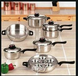 Worlds Finest 7-Ply Steam Control 17pc T304 Stainless Steel Cookware Set