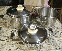 Zepter 5 pieces Stainless Steel cookware flatware W Thermo Control Lids
